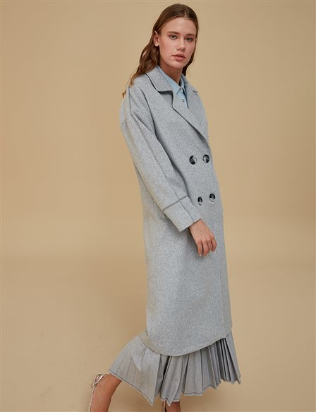Double Button Coat A9 17057 Grey