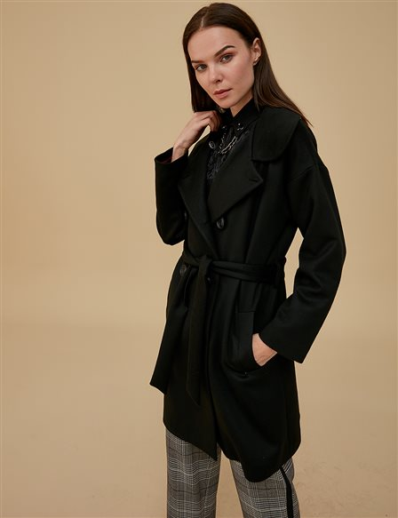 Coat With Belt A9 17063 Black