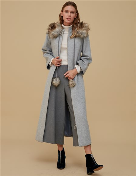 Furry Collar Coat A9 18012 Grey