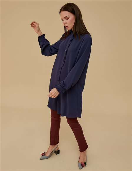 KYR Ruffled Collar Tunic A9 81098 Navy