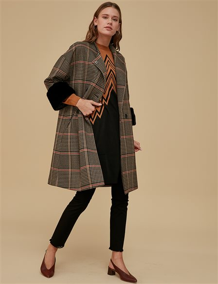 Furry Envelop Coat A9 17066 Black