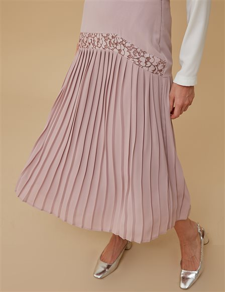 Pleated Guipure Skirt A9 12056 Powder