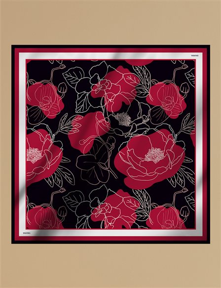 Floral Twill Silk Scarf A9 ESP04 Red