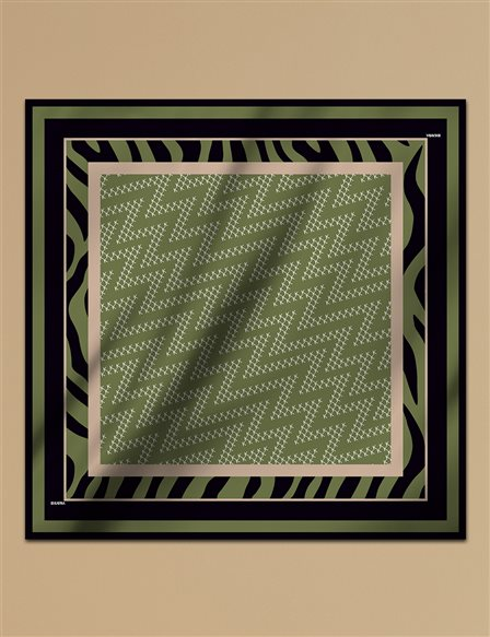 Geometric Patterned Twill Scarf A9 ESP07 Khaki