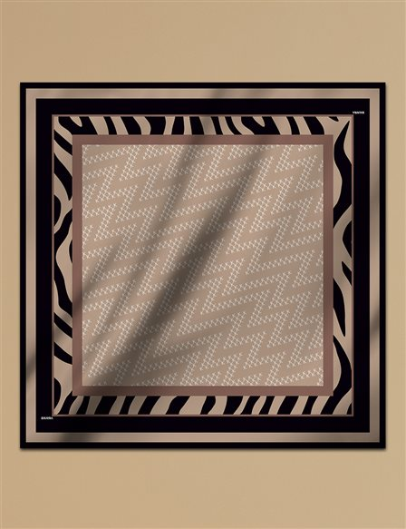 Geometric Patterned Twill Silk Scarf A9 ESP07 Camel
