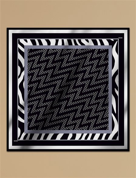 Geometric Patterned Twill Scarf A9 ESP07 Black