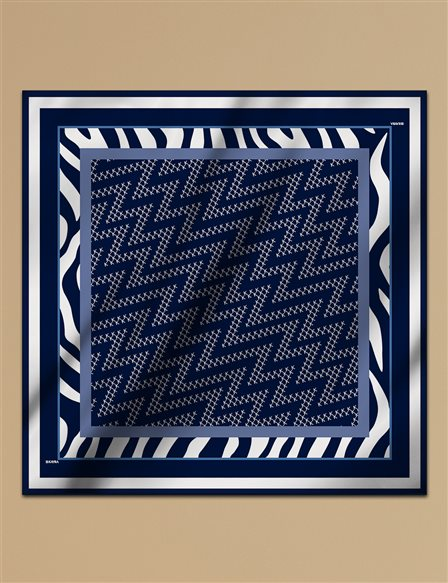 Geometric Patterned Twill Scarf A9 ESP07 Navy