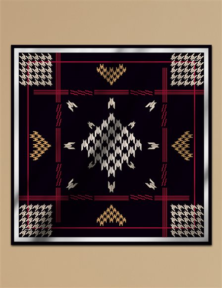 Houndstooth Check Twill Silk Scarf A9 ESP09 Black