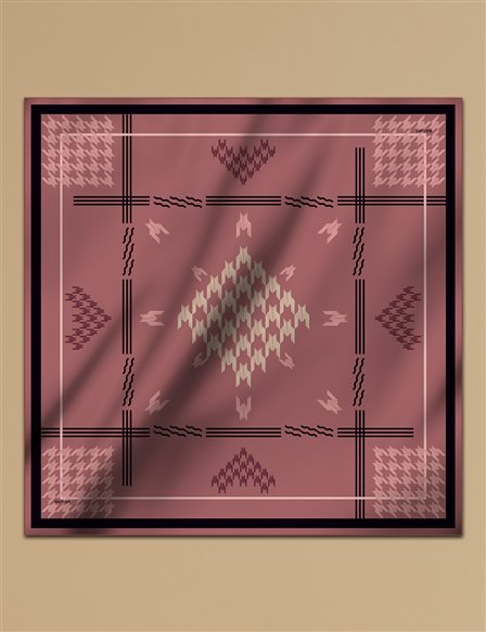 Houndstooth Check Twill Silk Scarf A9 ESP09 Tile