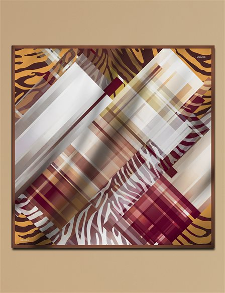 Geometric Patterned Twill Silk Scarf A9 ESP14 Beige