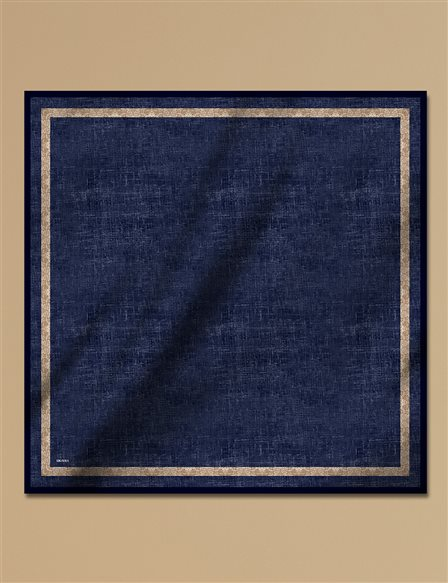 Twill Silk Scarf With Pattern A9 ESP30 Navy