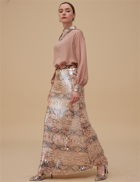 Fishtail Skirt With Sequin A9 12032 Camel