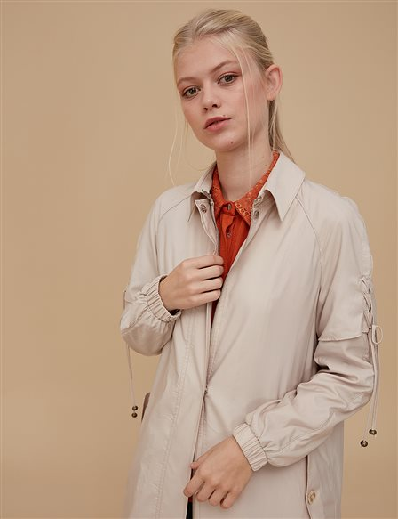 Ruched Coat Beige A9 25063