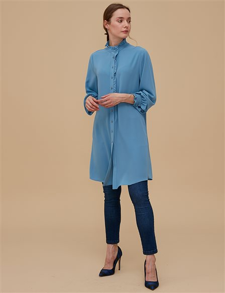 KYR Ruffled Collar Tunic A9 81098 Blue