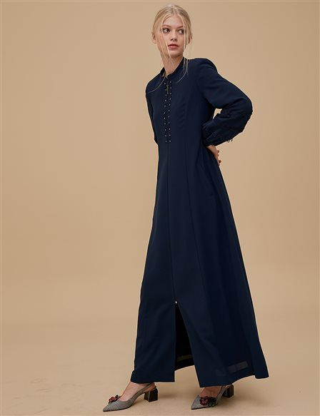 Embroidered Overcoat A9 15024 Navy