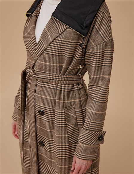 Plaid Coat With Belt A9 17023 Beige