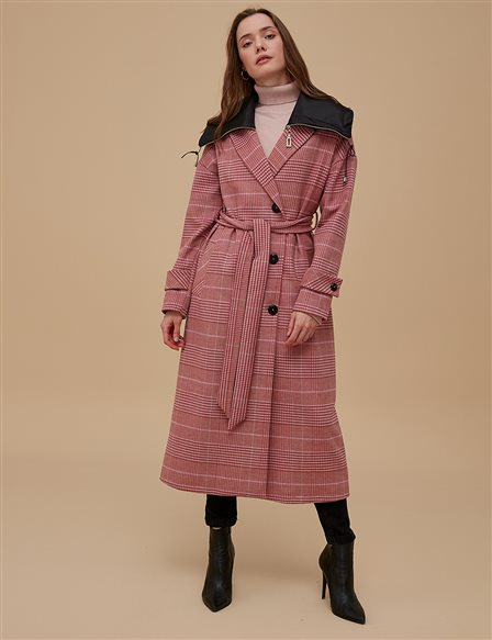 Plaid Coat With Belt A9 17023 Powder