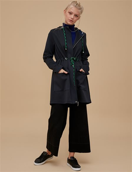 Ruched Coat Khaki | Navy A9 24012