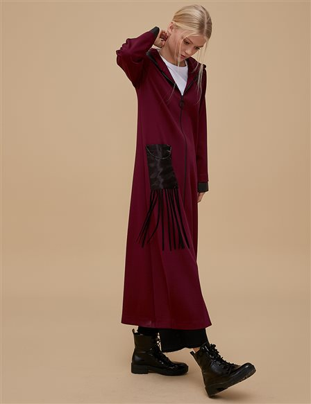 Organza Coat With Zipper A9 25071 Burgundy