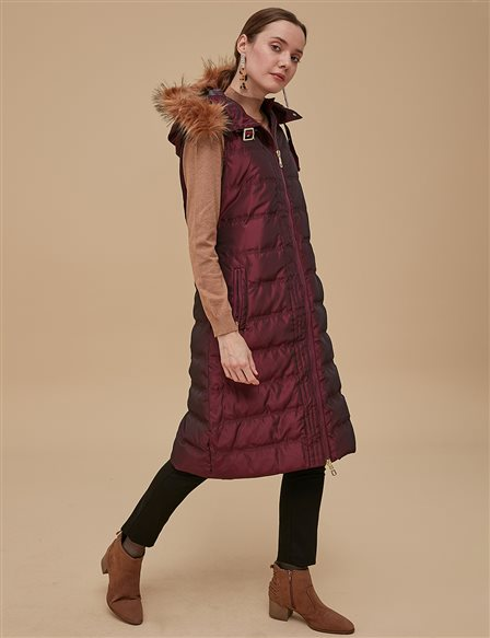 Furry Goose-Quill Vest Burgundy A8 27006