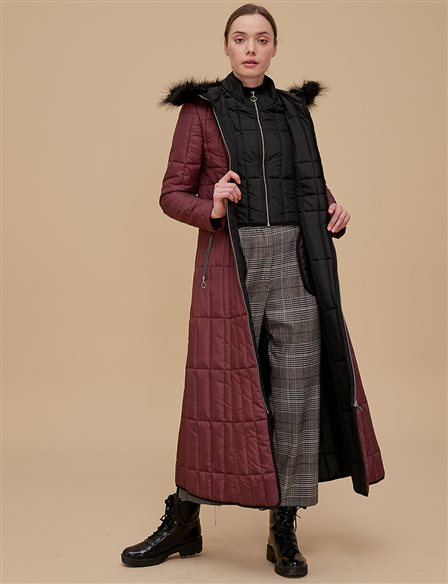 Anorak Coat With Hood Burgundy A8 27041