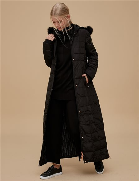 Goose-Quill Coat With Hood Black A8 27001