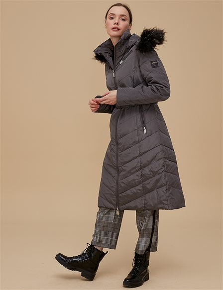 Goose-Quill Coat With Portable Hood Grey A8 27005