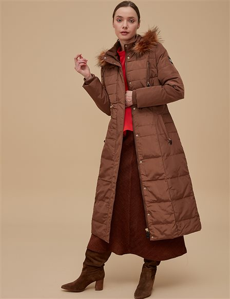 Goose-Quill Coat With Hood Camel A8 27007