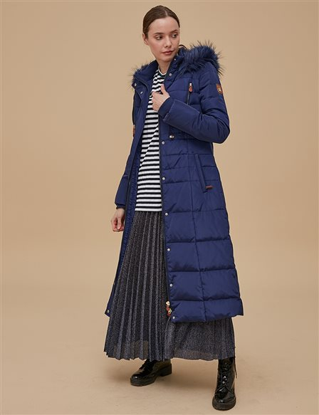Goose-Quill Coat With Hood Navy A8 27007