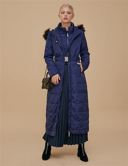 Goose-Quill Coat With Zipper Navy A8 27008
