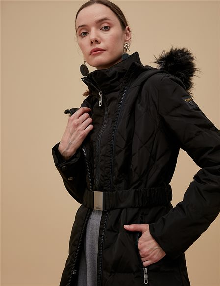 Goose-Quill Coat With Zipper Black A8 27008