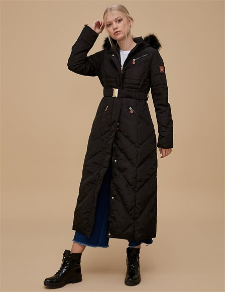 Goose-Quill Coat With Zipper Black A8 27003
