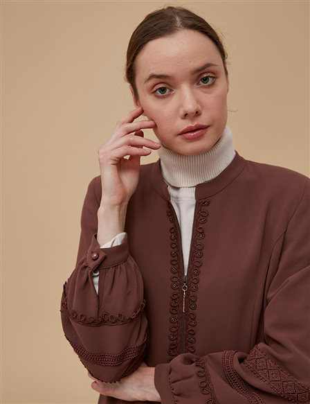 Embroidered Overcoat A9 15024 Brown