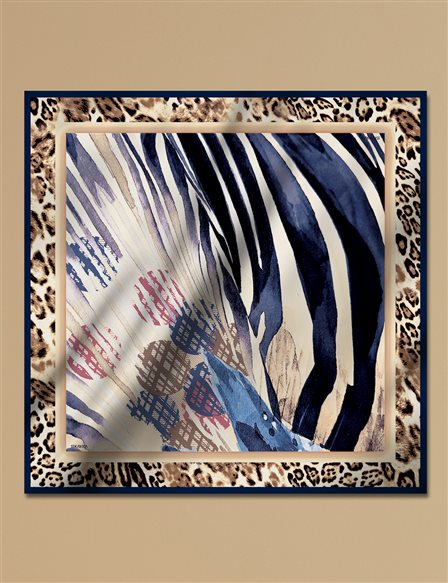 Animal Print Twill Silk Scarf A9 ESP17 Beige