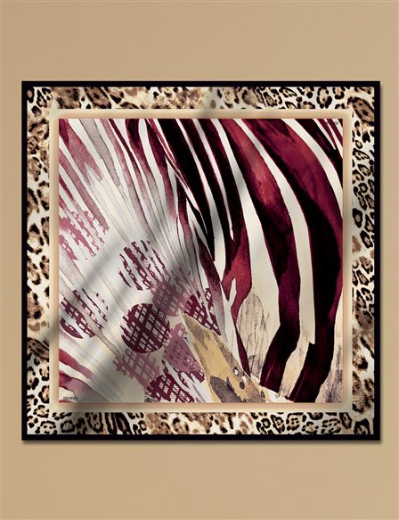 Animal Print Twill Silk Scarf A9 ESP17 Brown