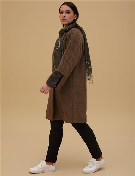 Furry Detailed Coat A9 17028 Khaki