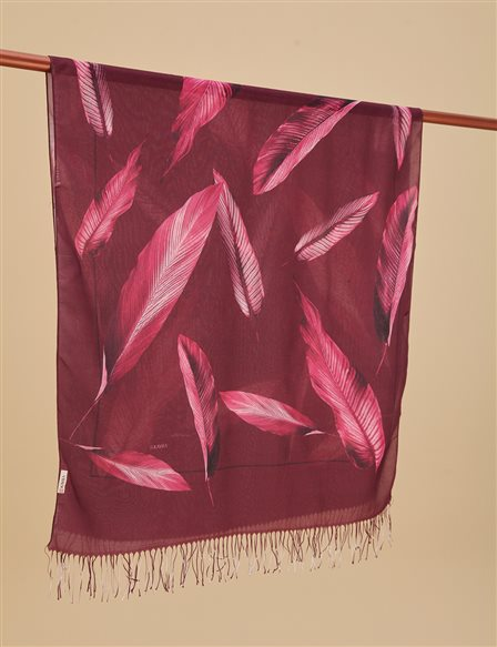 Leaf Patterned Cotton Shawl A9 SAL12 Plum