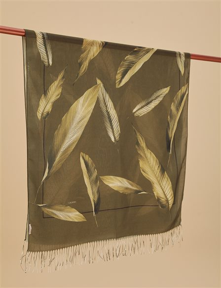 Leaf Patterned Cotton Shawl A9 SAL12 Khaki