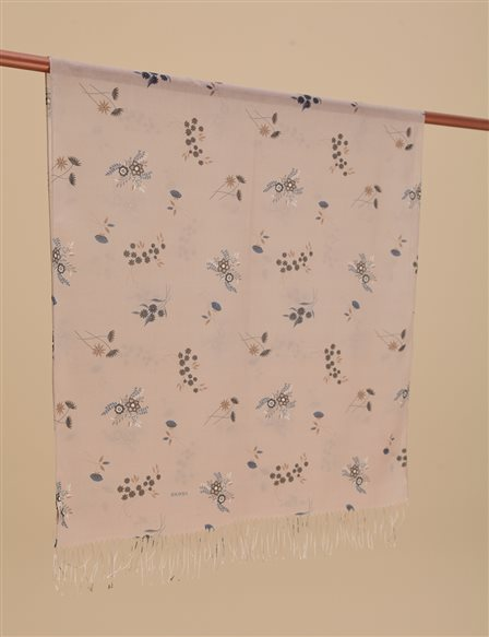 Floral Pattern Cotton Shawl A9 SAL19 Beige