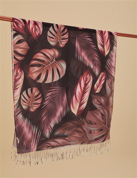 Autumn Patterned Cotton Shawl A9 SAL18 Burgundy