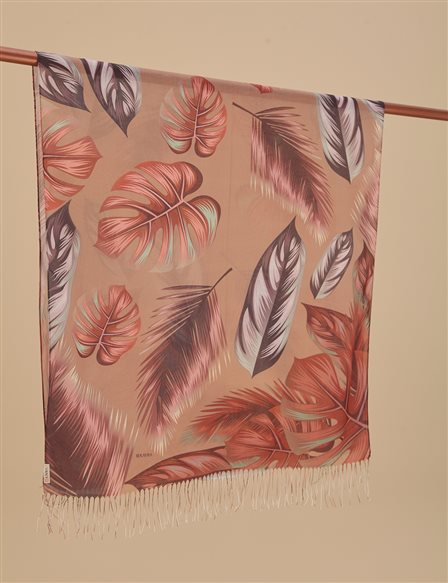 Autumn Patterned Cotton Shawl A9 SAL18 Beige