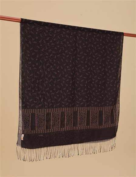 Patterned Cotton Shawl A9 SAL16 Black
