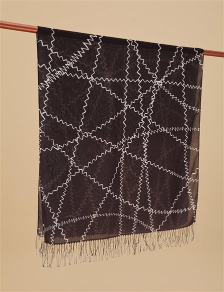 Geometric Patterned Cotton Shawl A9 SAL13 Black