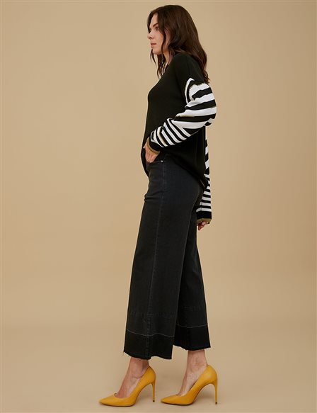 Wide Leg Denim Pants A9 19082A Smoke