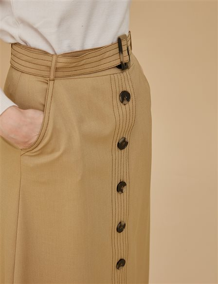Skirt With Button Details A9 12060 Beige