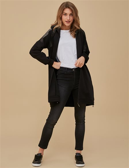 Wing Detailed Jacket A9 13091 Black