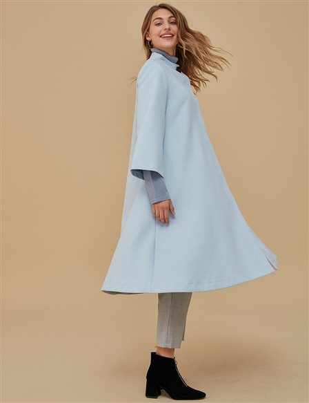 Three Quarter Sleeve Coat A9 18013 Blue