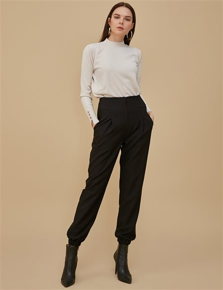 Ruched Leg Pants A9 19080 Black