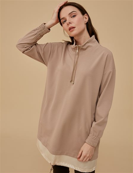 Sweatshirt With Zipper A9 21048A Beige