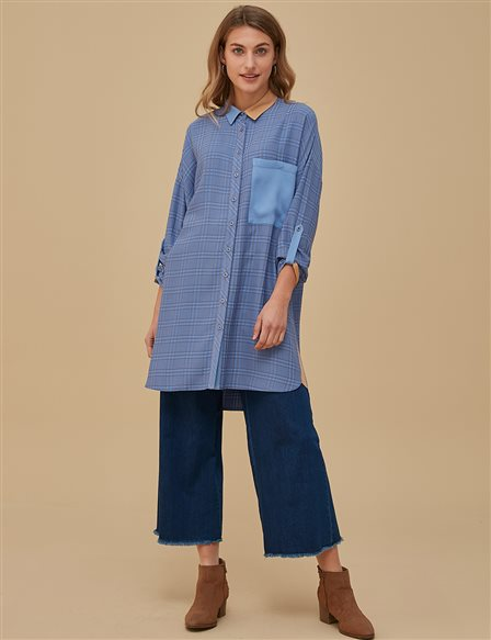 Plaid Oversize Tunic A9 21106 Grey